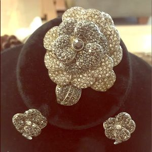 New Avon CZ Encrusted Rhinestone Pin & Earrings